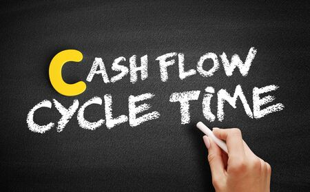 Cash Flow Cycle Time text on blackboard, business concept background Imagens