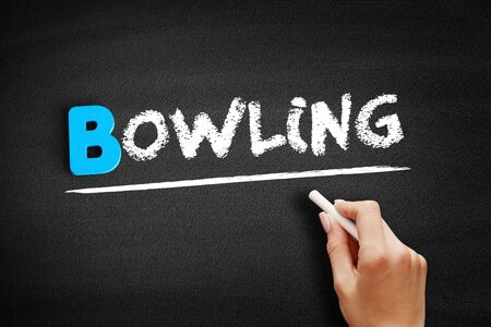 Bowling text on blackboard, concept background