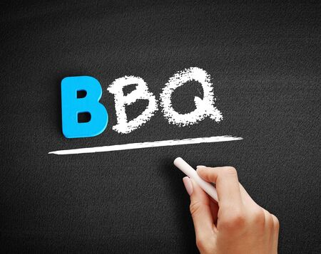 BBQ (barbecue) text on blackboard, concept background