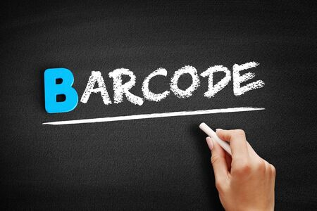 Barcode text on blackboard, business concept background Фото со стока