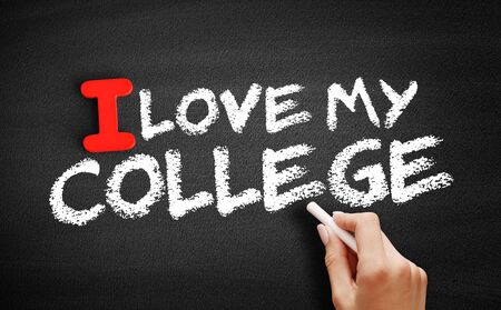I love my college text on blackboard, education concept background Фото со стока