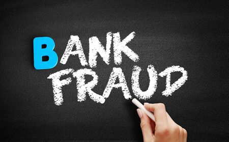 Bank fraud text on blackboard, business concept background