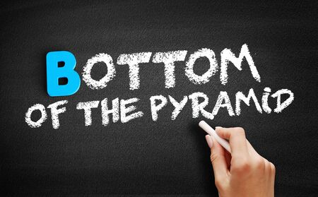 Bottom of the Pyramid text on blackboard, business concept background