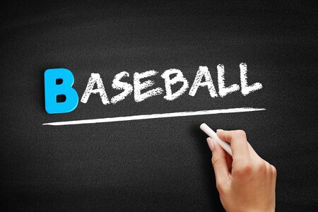 Baseball text on blackboard, concept background Banque d'images - 129748810