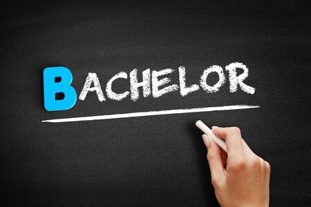 Bachelor text on blackboard, education concept background