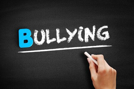 Bullying text on blackboard, social concept background