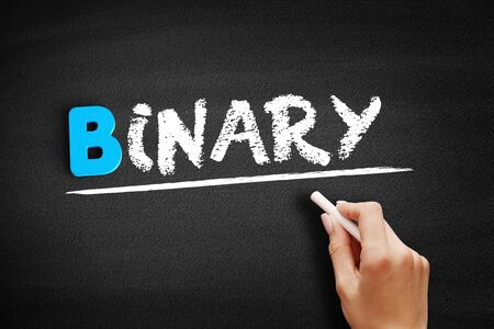 Binary text on blackboard, business concept background Banque d'images - 129748852