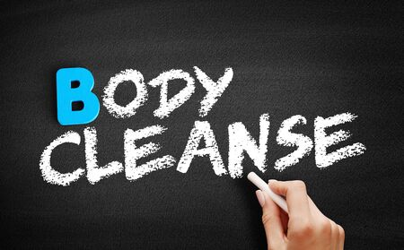 Body cleanse text on blackboard, concept background