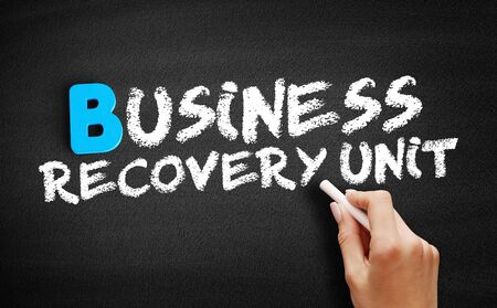 Business Recovery Unit text on blackboard, business concept background