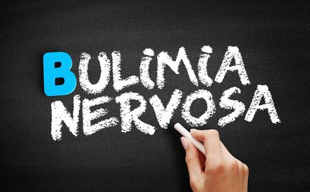 Bulimia nervosa text on blackboard, concept background