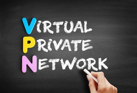 Color Wooden alphabets building the word VPN - Virtual Private Network acronym on blackboard
