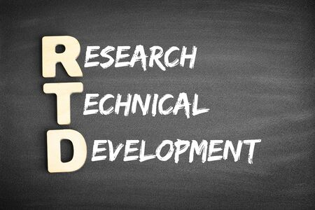 Wooden alphabets building the word RTD - Research Technical Development acronym on blackboard