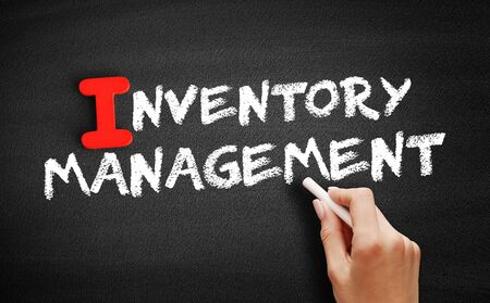 Inventory Management text on blackboard, business concept background