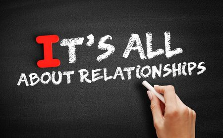 Its All About Relationships text on blackboard, concept background