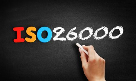 ISO 26000 standard text on blackboard, concept background