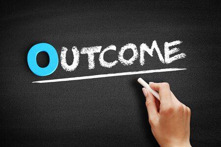 Outcome text on blackboard, business concept background Zdjęcie Seryjne