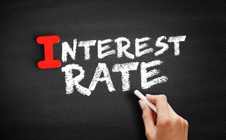 Interest Rate text on blackboard, business concept background Zdjęcie Seryjne