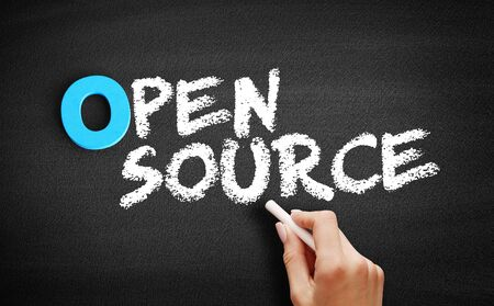 Open Source text on blackboard, business concept background
