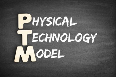 Wooden alphabets building the word PTM - Physical Technology Model acronym on blackboard