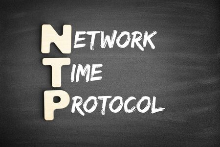 Wooden alphabets building the word NTP - Network Time Protocol acronym on blackboard