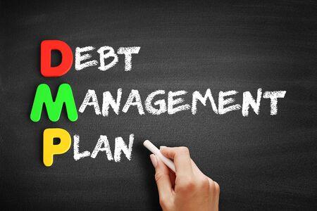 Color Wooden alphabets building the word DMP - Debt Management Plan acronym on blackboard