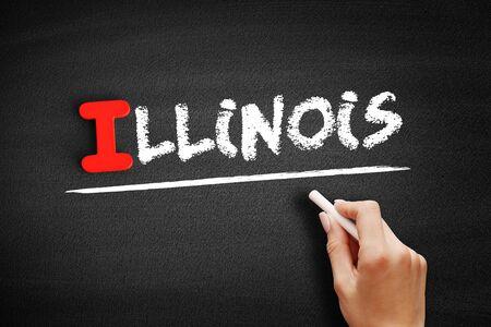 Illinois text on blackboard, concept background