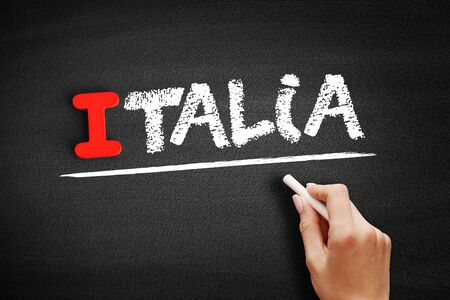 Italia text on blackboard, education concept background