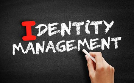 Identity management text on blackboard, business concept background