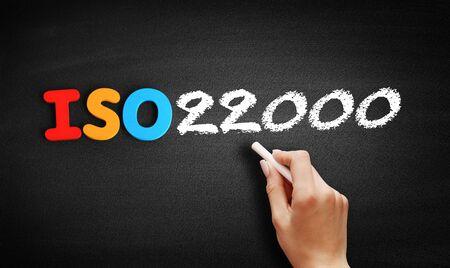 ISO 22000 standard text on blackboard, concept background Stok Fotoğraf
