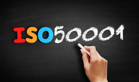 ISO 50001 standard text on blackboard, concept background Stok Fotoğraf