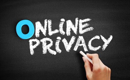 Online Privacy text on blackboard, business concept background 스톡 콘텐츠