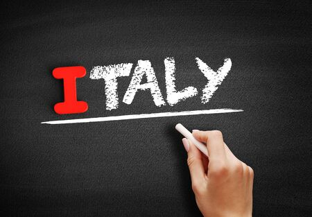 Italy text on blackboard, concept background