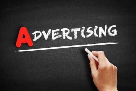 Advertising text on blackboard, business concept background Stok Fotoğraf
