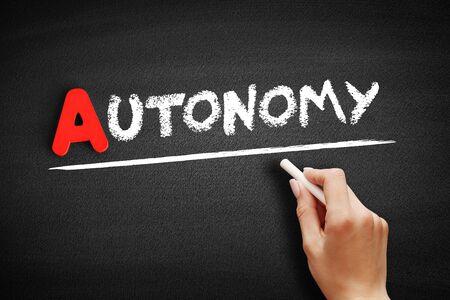 Autonomy text on blackboard, business concept background Stok Fotoğraf