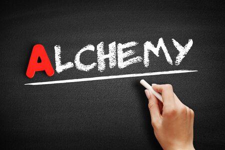 Alchemy text on blackboard, concept background Stock fotó