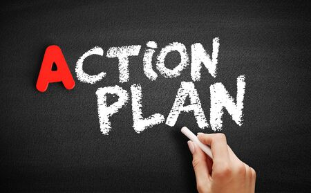 Action Plan text on blackboard, business concept background