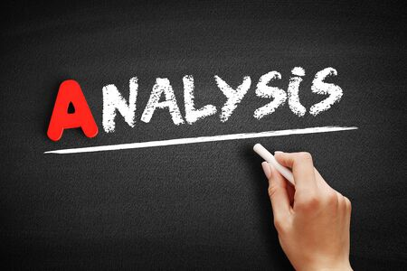 Analysis text on blackboard, business concept background