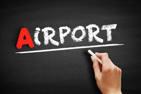 Airport text on blackboard, travel concept background