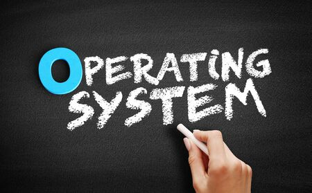 Operating System text on blackboard, business concept background