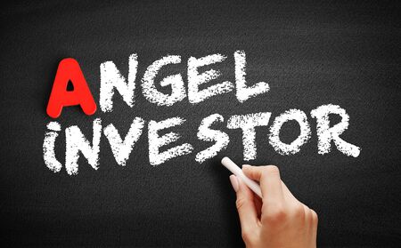 Angel investor text on blackboard, business concept background 스톡 콘텐츠