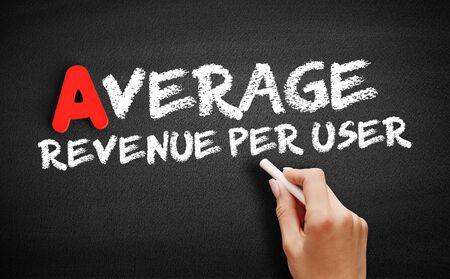 Average Revenue Per User text on blackboard, business concept background