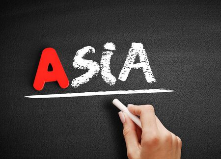 Asia text on blackboard, travel concept background
