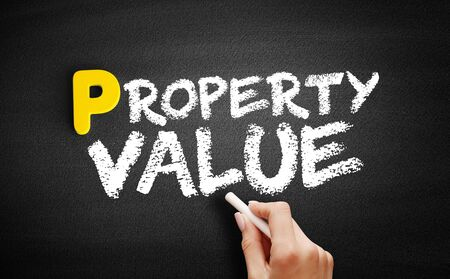 Property Value text on blackboard, business concept background