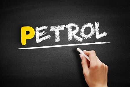 Petrol text on blackboard, business concept background