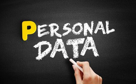Personal Data text on blackboard, business concept background Stock Photo