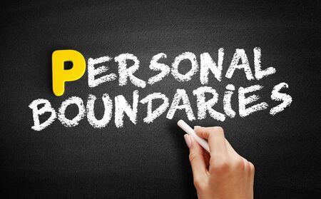 Personal boundaries text on blackboard, concept background Stok Fotoğraf
