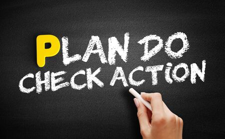 Plan Do Check Action text on blackboard, business concept background