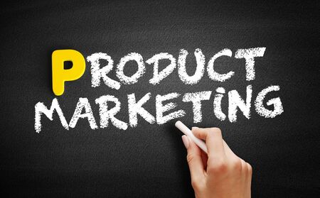 Product Marketing text on blackboard, business concept background