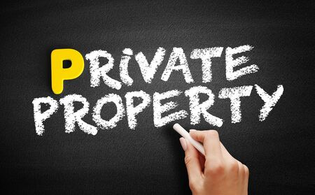 Private property text on blackboard, business concept background