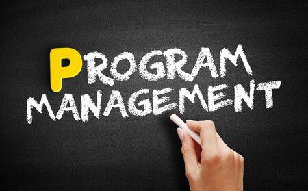Program Management text on blackboard, business concept background